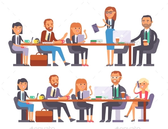 Vector Flat People Work Place Business Worker - Concepts Business