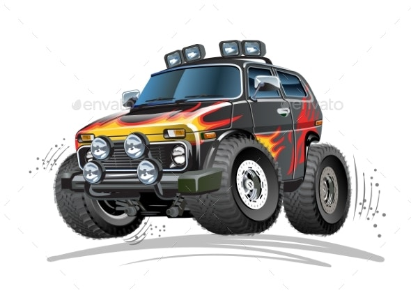 Cartoon 4X4 Car - Man-made Objects Objects
