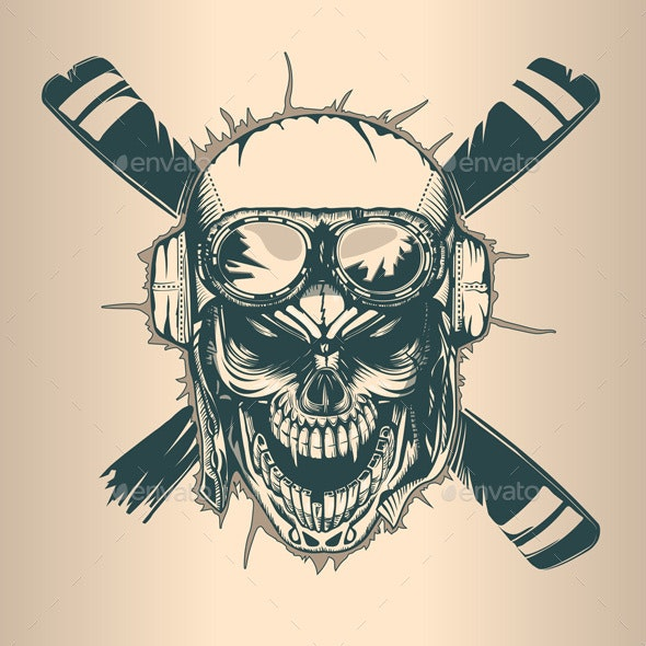 Pilot Skull - Tattoos Vectors