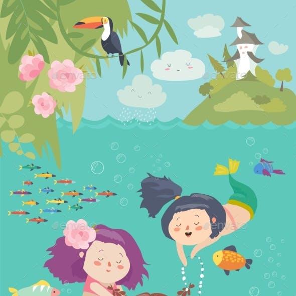 Cartoon Mermaids with Animals