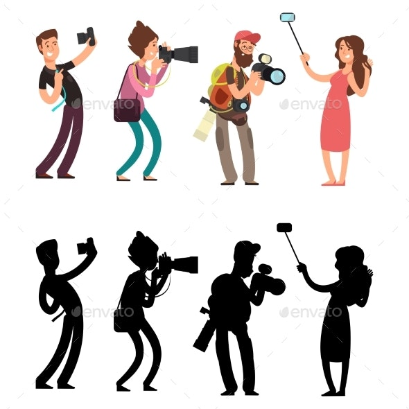 Funny Professional Photographer with Camera Photo - Miscellaneous Vectors