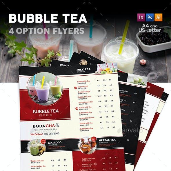 Bubble Tea Cafe Menu Flyers 2 – 4 Options
