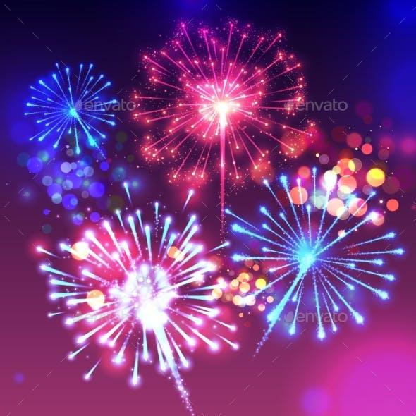 Fireworks Sparkling Background Vector Illustration