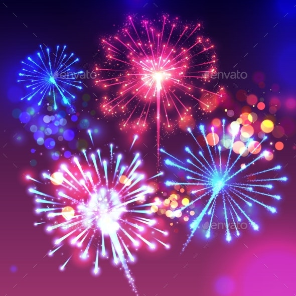 Fireworks Sparkling Background Vector Illustration - Miscellaneous Seasons/Holidays