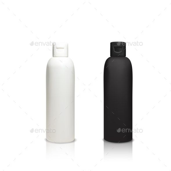Cosmetic Plastic Bottles Vector Illustration - Man-made Objects Objects