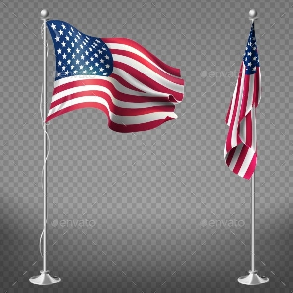 Vector Realistic Flags of United States of America - Man-made Objects Objects