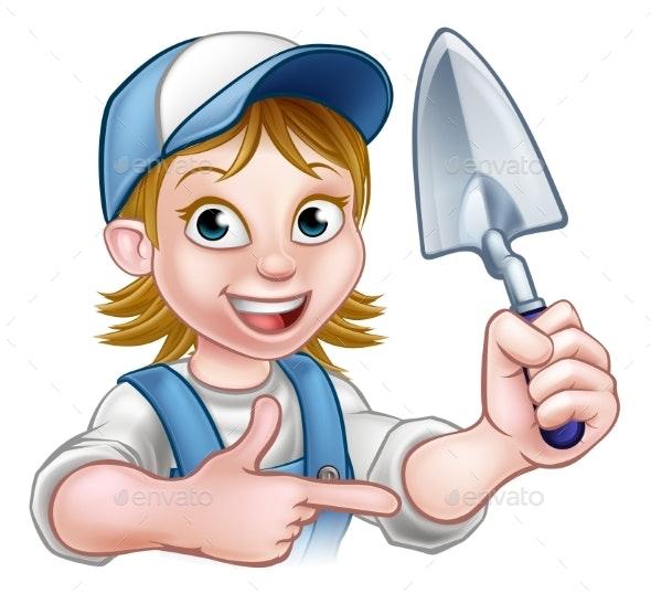 Cartoon Builder Bricklayer Worker Trowel Tool - Miscellaneous Vectors