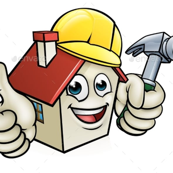 House Construction Worker Cartoon Character
