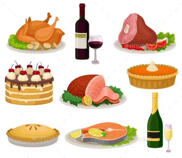 Flat Vector Set of Traditional Holiday Food - Food Objects