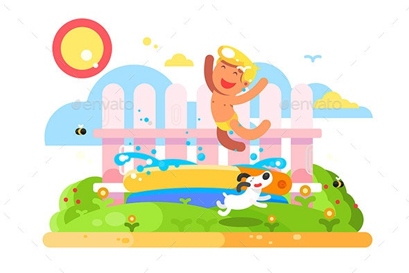 Child Boy Play in Garden Pool - Miscellaneous Characters