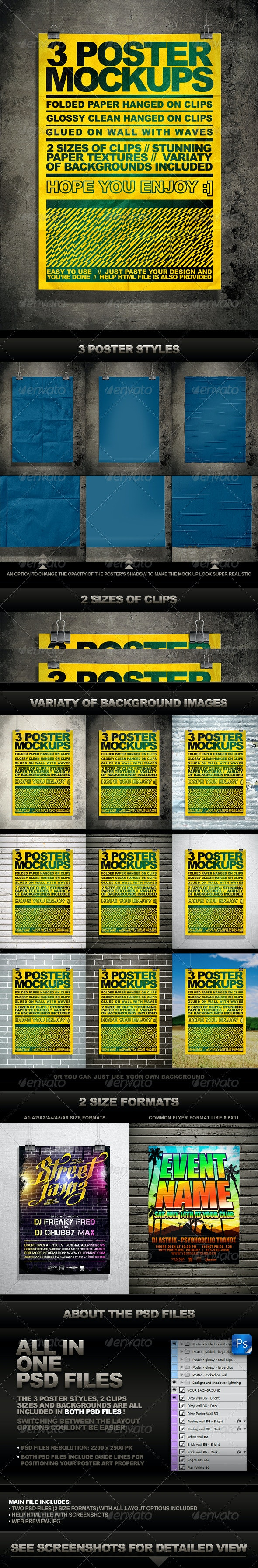 Poster Mock Up Kit = 3 Unique Styles + Backgrounds - Posters Print