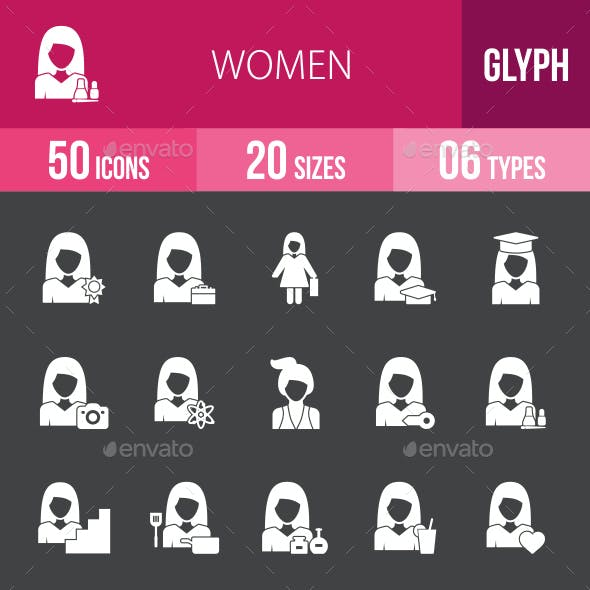 Women Glyph Inverted Icons