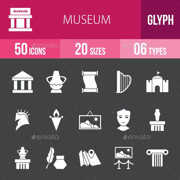 Museum Glyph Inverted Icons