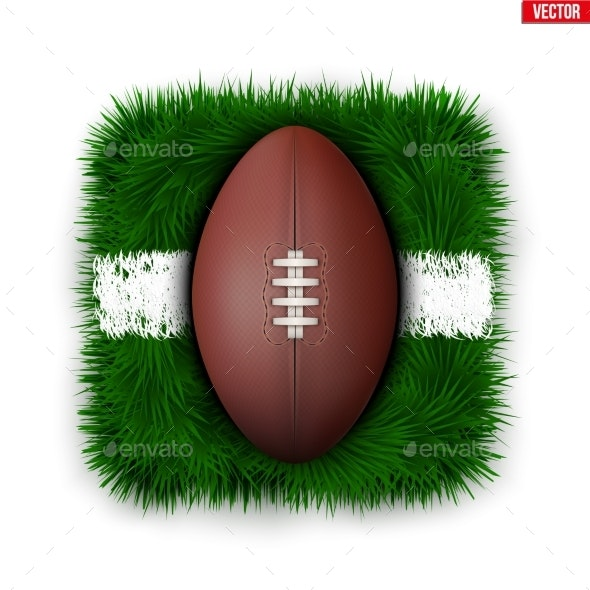 Icon of Football Field Ball on Grass - Sports/Activity Conceptual