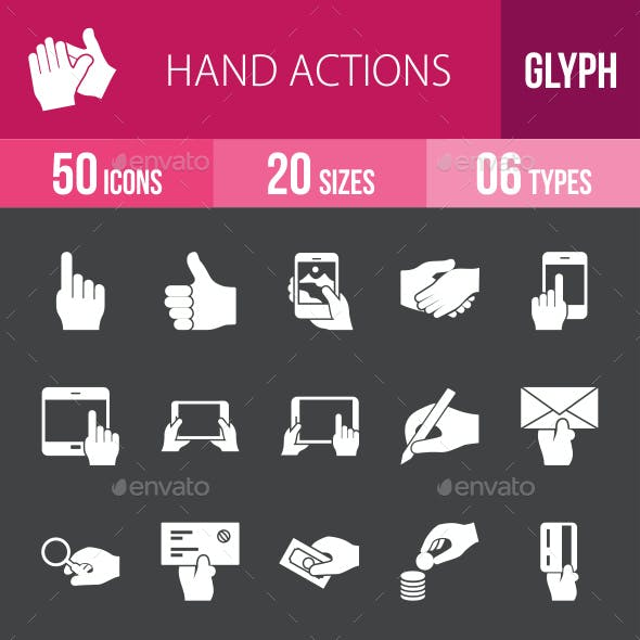 Hand Actions Glyph Inverted Icons