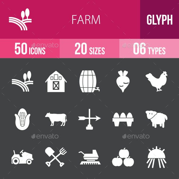 Farm Glyph Inverted Icons