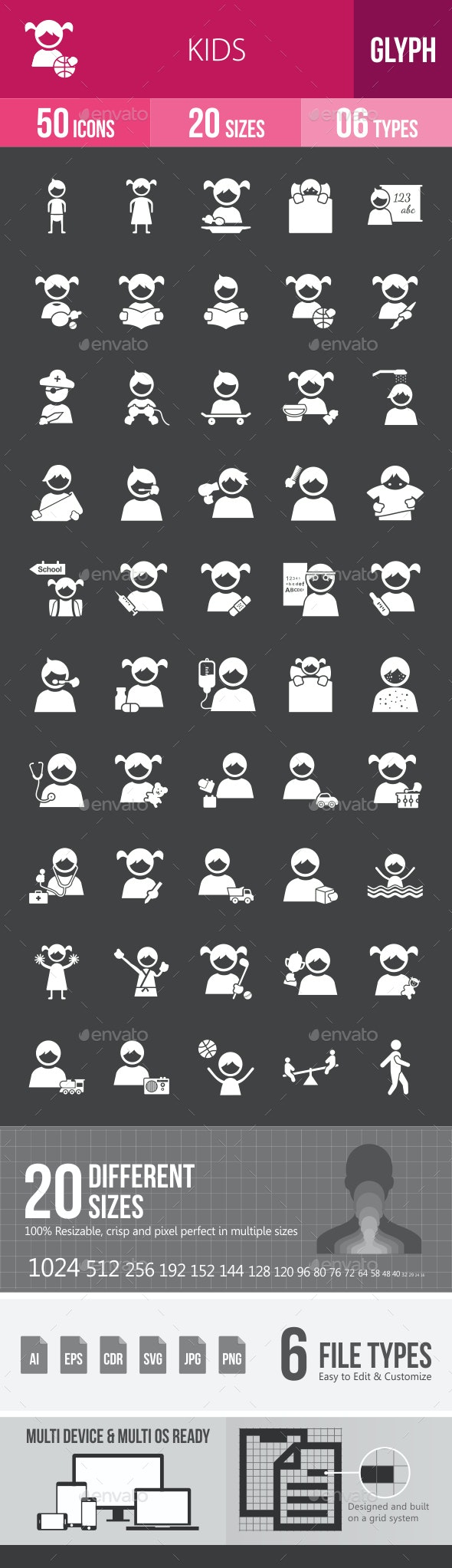 Kids Glyph Inverted Icons - Icons