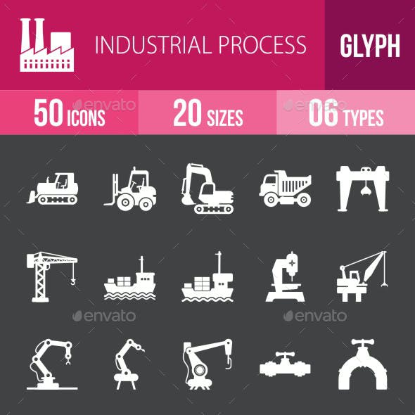 Industrial Process Glyph Inverted Icons