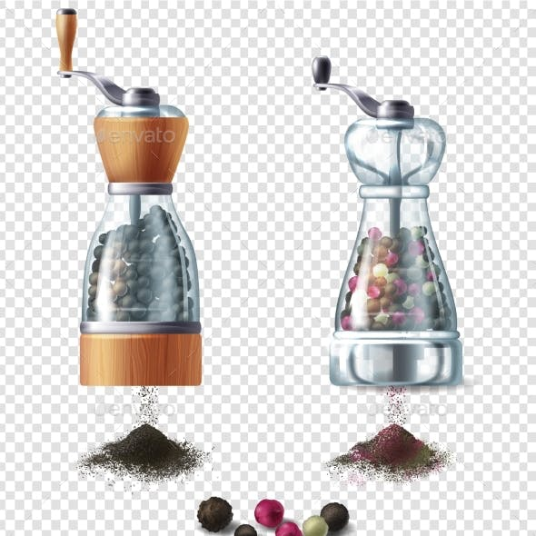 Vector Clipart with Pepper Mills and Peppercorns