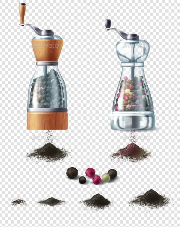 Vector Clipart with Pepper Mills and Peppercorns - Food Objects
