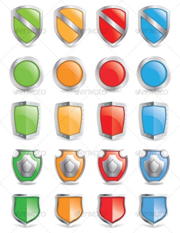 Vector Shield Icon Set - Decorative Vectors