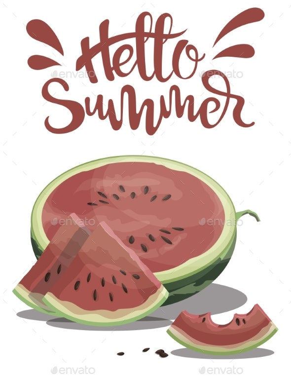 Piece of Watermelon with the Inscription Hello - Miscellaneous Vectors