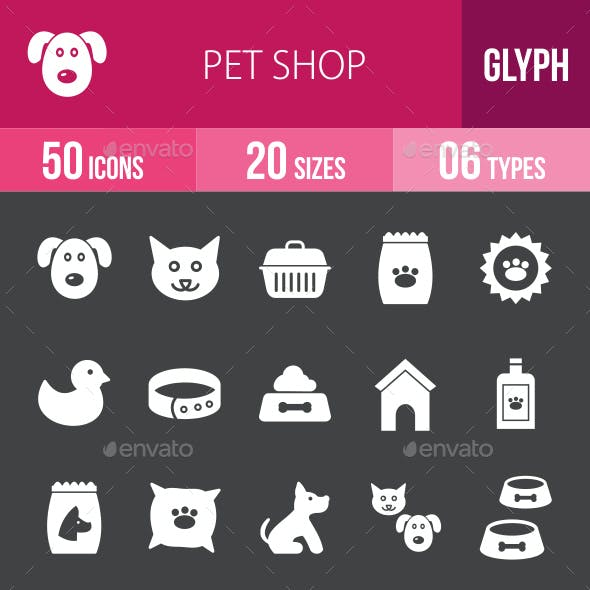 Pet Shop Glyph Inverted Icons