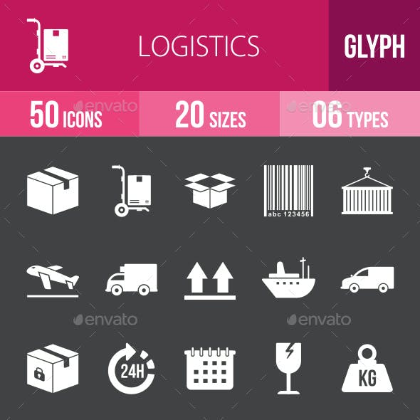 Logistics Glyph Inverted Icons