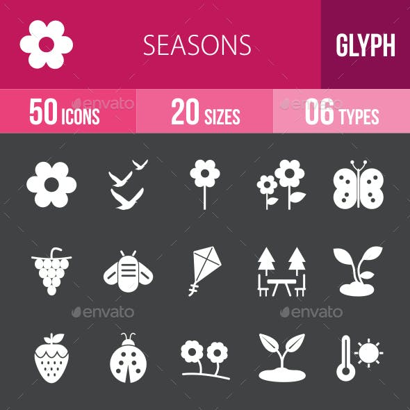 Seasons Glyph Inverted Icons