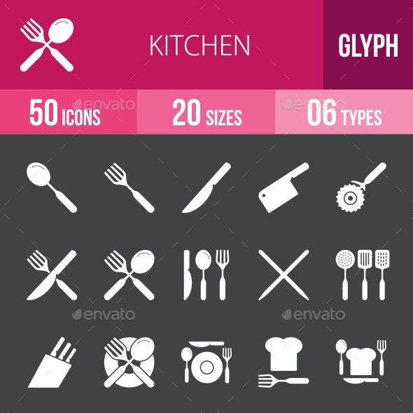 Kitchen Glyph Inverted Icons