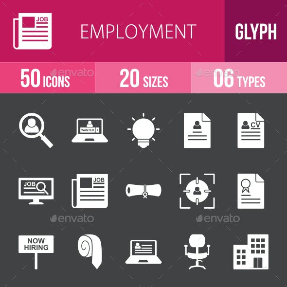 Employment Glyph Inverted Icons