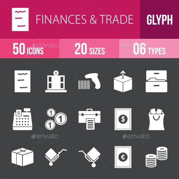 Finances & Trade Glyph Inverted Icons