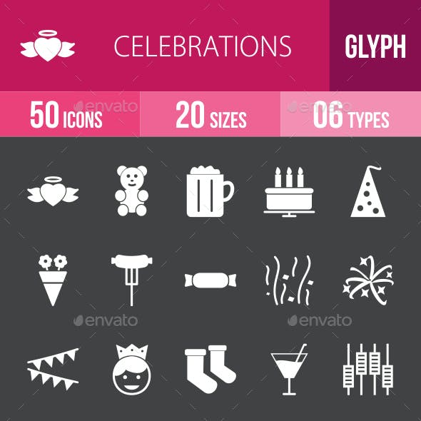 Celebrations Glyph Inverted Icons