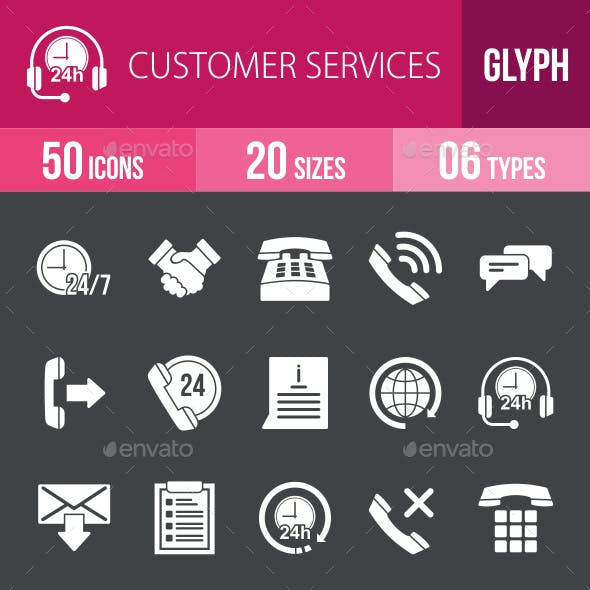 Customer Services Glyph Inverted Icons