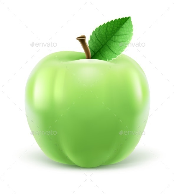 Green Apple with Leaf Vector Illustration - Food Objects