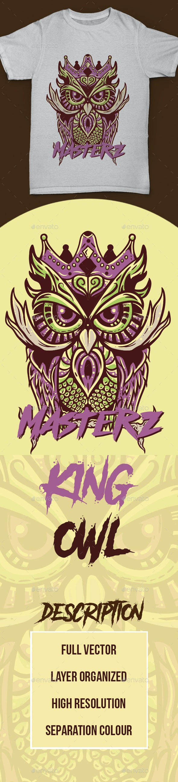 Tshirt Owl King - Designs T-Shirts