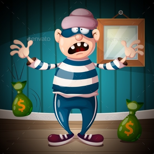 Crazy Cartoon Thief Character - People Characters