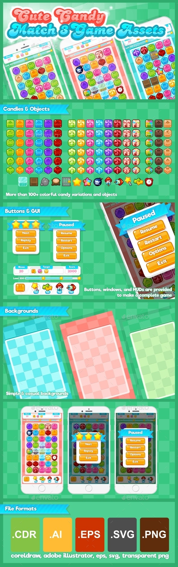 Cute Candy - Match Three Game Assets - Game Kits Game Assets