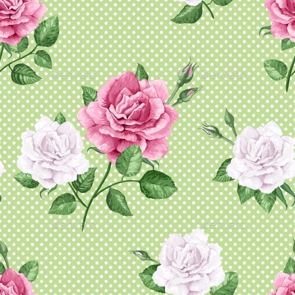 Rose Flowers, Petals and Leaves in Watercolor - Flowers & Plants Nature