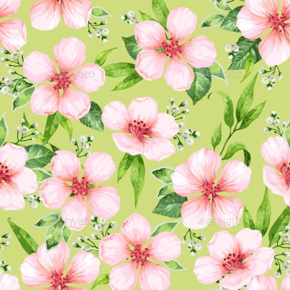 Seamless Pattern with Blossoming Apple Tree