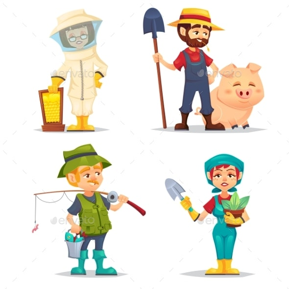 Happy Fisherman, Beekeeper and Farmer in Straw Hat - People Characters