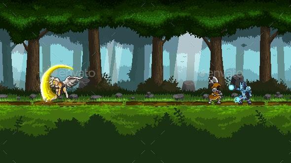 Pixel Art Parallax Woods Pack - Backgrounds Game Assets