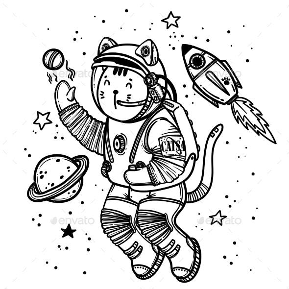 Vector Illustration Cat Astronaut Soaring - Animals Characters