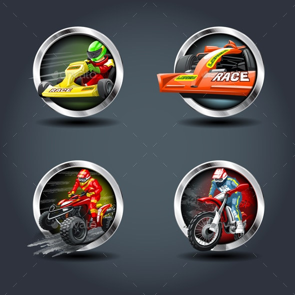 Race Car and Motorbike Set - Sports/Activity Conceptual