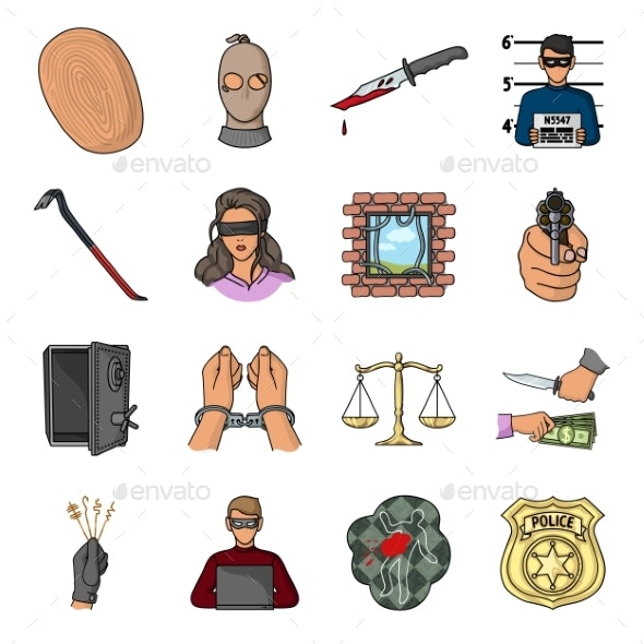 Crime and Punishment Cartoon Icons in Set - Miscellaneous Vectors