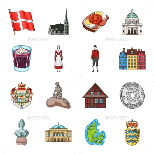Country Denmark Cartoon Icons in Set Collection