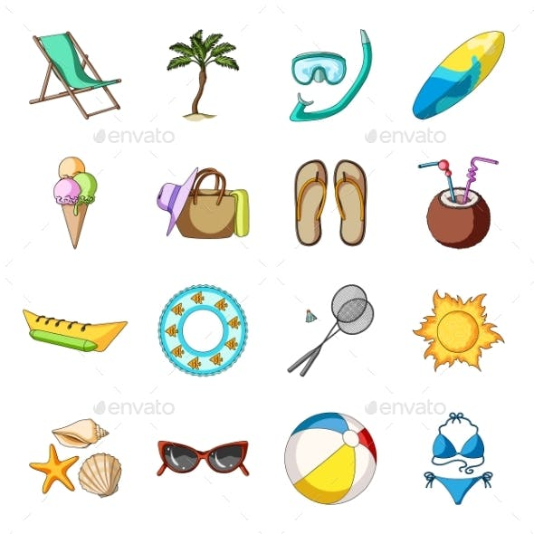Summer Rest Cartoon Icons in Set Collection