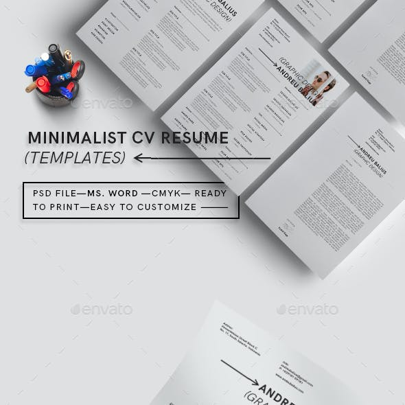 Minimalist CV Resume Templates
