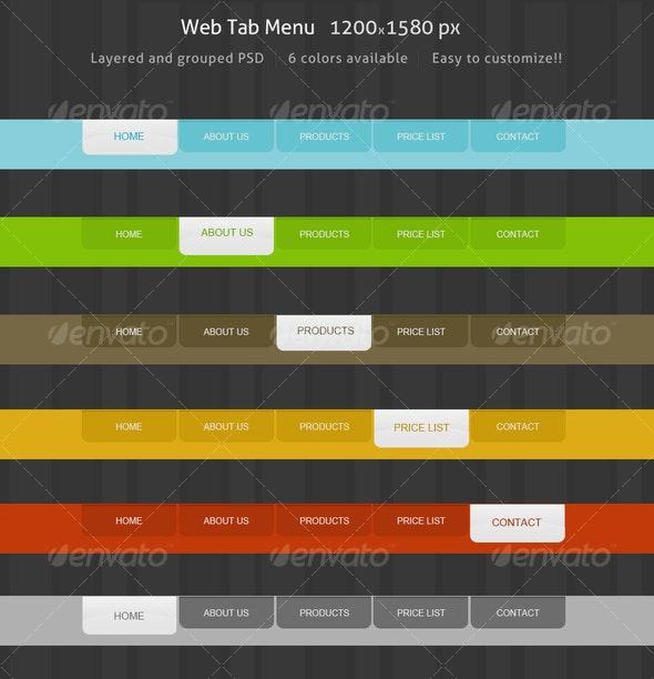 Web colorful Pack Menu navigation tabs - Web Elements