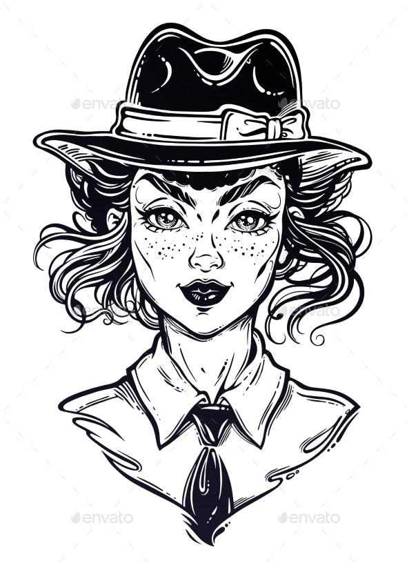 Portrait a Woman in Shirt and Hat - People Characters